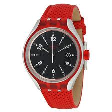 Swatch Irony Xlite Go Jump Red Leather Black Dial Swiss Quartz Watch YES4001