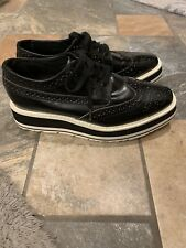 Prada Wingtip Brogue Oxford Platform Black Patent Leather Shoes Size 35