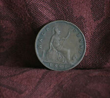 1861 Great Britain 1/2 Penny Bronze World Coin Britania Seated Half UK England b