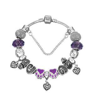 NEW Silver Purple Bear Claw Heart Murano Beads European Charm Bracelet