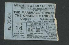 1976 Marshall Tucker Band Charlie Daniels Outlaws Concert Ticket Stub Miami