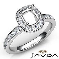 14k White Gold Classic Diamond Engagement Halo 0.37Ct Ring Cushion Semi Mount