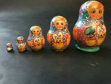 Five Green Russian Stacking Wooden Nesting Dolls