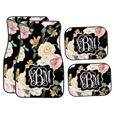 Personalized Black Floral | Pink and Cream Roses Car Mats