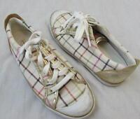 COACH womens 6.5 Barrett white plaid canvas gold leather lace up sneakers shoes