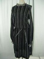 WENJILLI Vtg 70s Metallic Silver Black Stripes Knit Ruffle Dress-Bust 36/XS-S