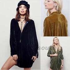 Velvet Long Sleeve Women's Mini Shirt Dress Top Blouse Buttons Tunics V-Neck