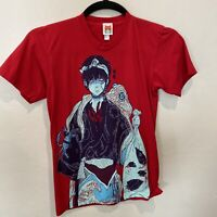OMOCAT Anime Graphic Print Red Tshirt Unisex Size Small Short Sleeve