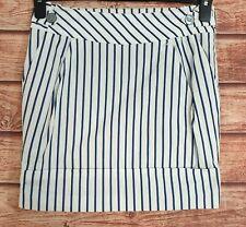 KAREN MILLEN Mini Skirt Navy BLUE/WHITE Striped Straight Cotton Size UK-6 Ex Con