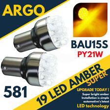 19 LED 581 BAU15S PY21W TURN SIGNAL OFFSET PINS AMBER REAR INDICATOR 12V BULBS