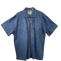 RARE Men's Vintage Levi's Denim Jean Zip Up Short Sleeve Shirt Large