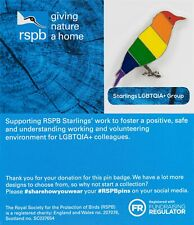 RSPB Pin Badge | LGBTQIA+ starling blue backing card (01453)