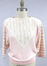 Vintage Dalton Studio Fairy Kei Pastel Sweater 1980s L Pink Stripes NWOT