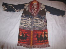 STUNNING Native American Western Blanket Poncho Shawl Cape - Long