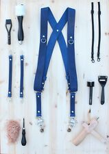 Dual Multi Camera Blue Leather Harness Shoulder Strap Made By Hand in England