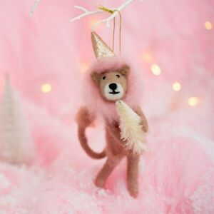 Sass and Belle Christmas Pink Lion Felt Hanging Decoration with a gold hat!