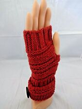 Fingerless red gloves wool acrylic knit brown button one size text wrist