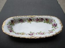 """Stunning Old T&V Limoges Heavy Gold & Flowers Decorated 13"""" Long 6.25 Wide Dish"""