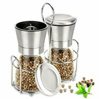 Salt and Pepper Grinder Set with Matching Stand, Salt and Pepper Shakers -