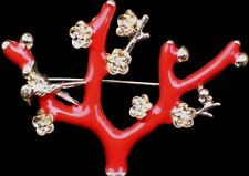 CORAL BIRD FLOWER JAPANESE  MAPLE CHERRY BLOSSOM TREE BRANCH PIN BROOCH JEWELRY