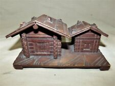 "Vintage Black Forest Inkwell & Stamp Box Set Swiss Chalet Carved Wood 6"" 7641"
