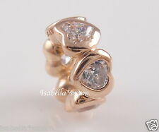 SPACE IN MY HEART 100% Genuine PANDORA Rose GOLD Plated/Clear CZ Charm/Bead NEW