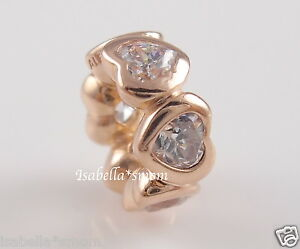 SPACE IN MY HEART Genuine PANDORA Rose GOLD Plated Charm SPACER 781252CZ w POUCH
