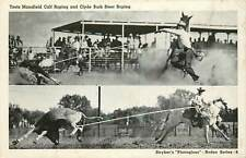 Toots Mansfield Calf Roping and Clyde Burk Steer Roping 1940's Postcard