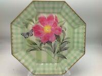 "Moonlighting Interiors Decoupage Glass Plate Octagon Botanical Butterfly 9.75"" A"
