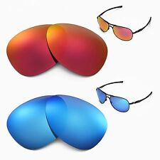 New Walleva Polarized Fire Red + Ice Blue Lenses For Oakley Plantiff Sunglasses