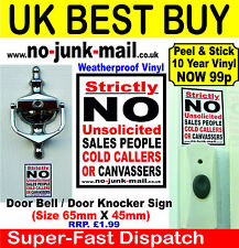 Stop Unwanted Sales People, Cold Calling Canvassers, - Self Adhesive Sign ID CAN