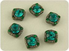 2 Hole Beads Crystal GALA Blue Zircon & Emerald Swarovski Crystal Elements QTY 6