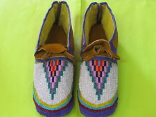 "NATIVE AMERICAN FULL BEAD TAN HIDE MOCCASINS 10&1/2 "" LONG SUPERB MULTICOLORED"