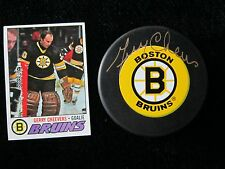 GERRY CHEEVERS Autograph PUCK & 1977 Topps Card BOSTON Bruins CHEESEY Gerald