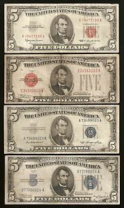 $5 FIVE DOLLAR US CURRENCY *4* NOTE SET / COLLECTION 1928, 1934, 1953, & 1963