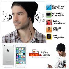 Tejido Negro Música Gorro con construido en Auriculares Audífonos Audio Ipod MP3