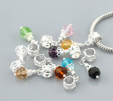 10 Mixed Pattern CZ Crystal Glass Dangle Beads Fit European Charm Bracelet
