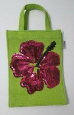 Earthbags Jute Mini Tote Gift Bag Laminated Interior Green Purple Flower Sequin