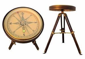 Maritime Brass Large Compass With Wooden Stand Bedside Table Christmas Decor