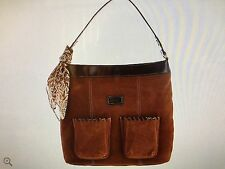 Tignanello Suede RFID Front Pocket Hobo with Scarf purse Cognac NWT