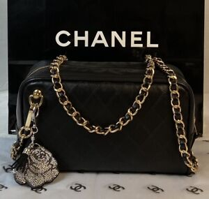 AUTHENTIC  CHANEL BLACK LEATHER CROSS BODY ~p🇺🇸US SELLER
