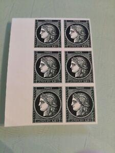 Bloc de 6 timbres 170 ans du type Cérès à 0.20 € non dentelés