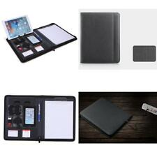 A4 Leather Conference Folder Portfolio Document Holder Rugged Zipper Clipboard