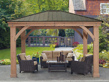 Metal Roof Gazebo Aluminum Cedar 12 X14 For Wood Deck Canopy Outdoor Patio NOTAX