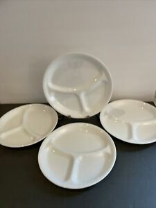 """Lot Of 4 Corelle Winter Frost White Divided Dinner Plate 3 Section 10-1/4"""" EUC"""