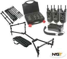 SABER Wireless 3+1 Bite Alarm Set Carp Fishing Snag Bars + NGT Nomadic Rod Pod