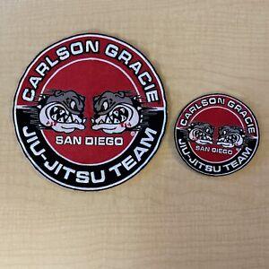 """New Carlson Gracie SD Jiu-Jitsu Team MMA Red Embroidered Patch 7 1/2"""" & 3 3/4"""""""