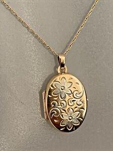 "Vintage 9ct Gold 19"" Chain & Locket Photo Pendant Necklace Ladies Jewellery"