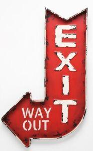 Shabby Eisenschild Exit Way Out Rot Richtungspfeil Retro Antik Look 61x35cm NEU