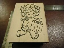TEDDY BEAR WITH A BOW A PURSE AND A BAG OF HEARTS RUBBER STAMP SUMMER BONNET